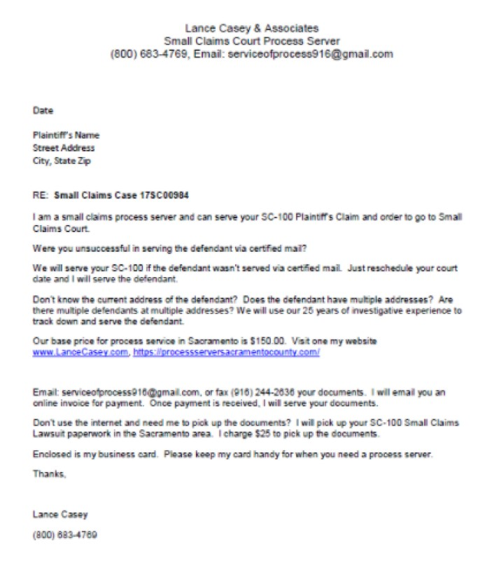 Process Server Marketing Letter Sample